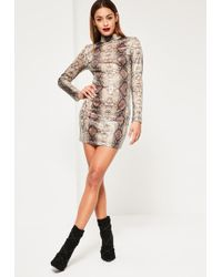 Missguided - Nude Snake Sequin Bodycon Dress - Lyst
