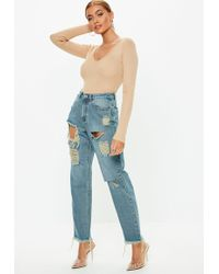 Missguided - Blue Vintage Wash Riot High Rise Ripped Mom Rigid Jeans - Lyst