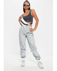 Missguided - Silver Reflective Joggers - Lyst