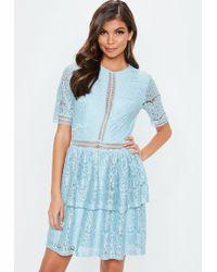 Missguided - Tall Blue Full Lace Layered Mini Dress - Lyst