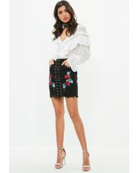 Missguided - Black Denim Rose Embroidered Stud Detail Skirt - Lyst