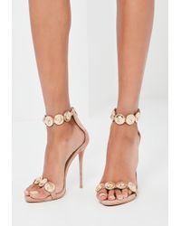 Missguided - Peace + Love Nude Embellished Strap Heeled Sandals - Lyst