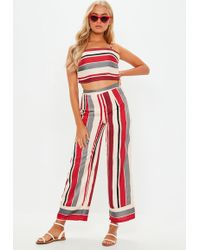 Missguided - Red Stripe Print Co Ord Set - Lyst