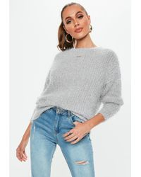 09a6578af0 Missguided - Grey Crew Neck Fluffy Boyfriend Jumper - Lyst