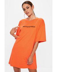 Missguided - Orange Maybe I'm Not Interested Oversized Tshirt Dress - Lyst