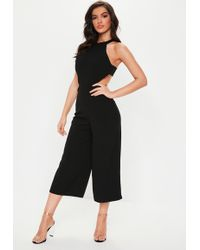 be62454d6128 Lyst - Missguided Black Milkmaid Bardot Culotte Jumpsuit in Black