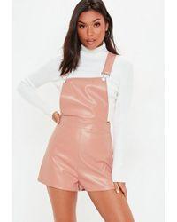 62f00826d5d4 Missguided Tibieta One Shoulder Romper in Pink - Lyst