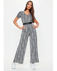 8a03897e7b8 Missguided Aleida Silk Feel Shirt Jumpsuit In Black in Black - Lyst