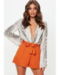 Missguided - Terracotta Tie Waist Shorts - Lyst
