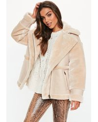 Missguided Tall Sand Faux Fur Aviator Coat - Natural