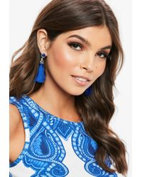 Missguided - Blue Diamante Drop Tassel Earrings - Lyst