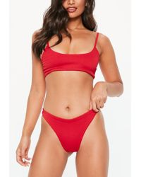 Missguided - Red Crinkle High Leg Bikini Briefs - Lyst