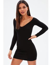 Missguided - Black Ribbed Sweetheart Neckline Knitted Mini Dress - Lyst