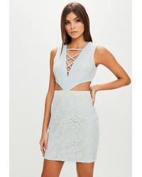 Missguided - Blue Lace Cut Out Bodycon Dress - Lyst