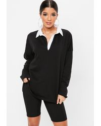 Missguided - Black Oversized Rugby Top - Lyst