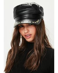Missguided | Faux Leather Stud Baker Boy Hat | Lyst