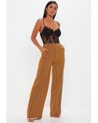 Missguided - Mustard Stripe Wide Leg Trousers - Lyst