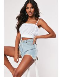 d21838d8d7044e Missguided - White Lace Stripe Gathered Hem Crop Top - Lyst