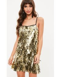 Missguided - Gold Sequin Mini Dress - Lyst