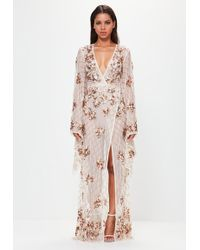 Missguided - Peace + Love Bronze Kimono Sleeve Embellished Maxi Dress - Lyst