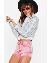 Missguided - Pink Acid Wash High Waisted Denim Shorts - Lyst