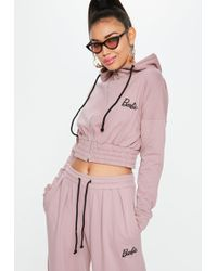 Missguided - Barbie X Tall Pink Long Sleeve Ring Zip Hooded Top - Lyst