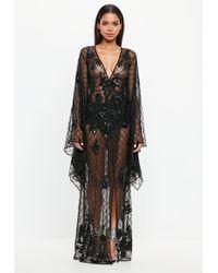 Missguided - Peace + Love Black Kimono Sleeve Embellished Dress - Lyst