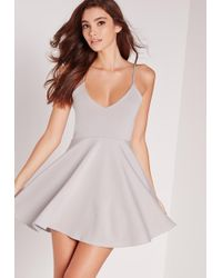 Missguided - Petite Strappy Skater Dress Grey - Lyst