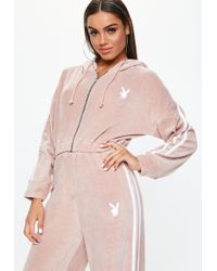 Missguided - Playboy X Pink Velour Hooded Zip Through Jacket - Lyst
