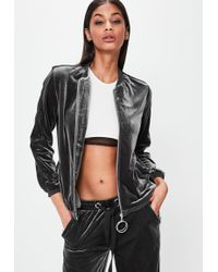 Missguided - Londunn + Grey Velour Bomber Jacket - Lyst
