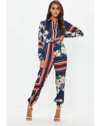 Missguided - Blue Printed Long Sleeve Utility Jumpsuit - Lyst