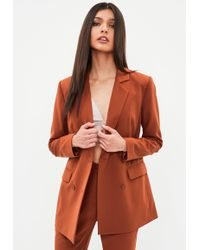 Missguided - Orange Button Double Breasted Longline Blazer - Lyst