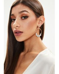 Missguided - Gold Look Diamante Edge Drop Earring - Lyst