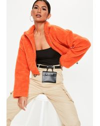 Missguided - Neon Orange Teddy Borg Cropped Bomber Jacket - Lyst