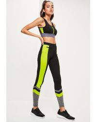 Missguided - Active Black Neon Panel Sports Leggings - Lyst