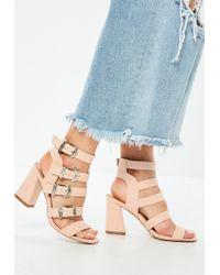 Missguided - Pink Multi Western Buckle Block Heels - Lyst