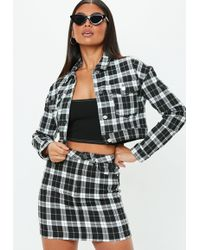 Missguided - Petite Black Cropped Checked Denim Jacket - Lyst