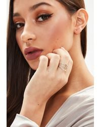 Missguided - Silver 3 Pack Twisted Rings - Lyst