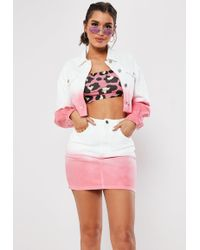 Missguided - White Ombre Raw Hem Denim Co Ord Jacket - Lyst