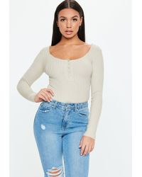Missguided - Grey Popper Ribbed Knitted Bodysuit - Lyst