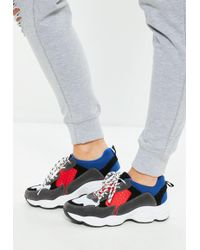Missguided - Blue Contrast Lace Chunky Sole Trainer - Lyst