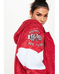 Missguided - Red Padded Racing Parka Jacket - Lyst