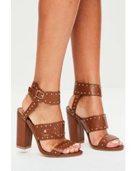 Missguided - Tan Multi Strap Studded Block Heels - Lyst