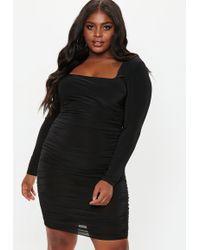 3bcf6a36 Missguided - Plus Size Black Square Neck Midi Dress - Lyst