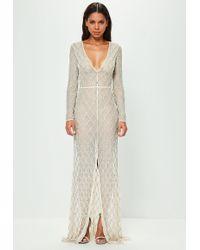 Missguided - Peace + Love Nude Lattice Embellished Split Front Maxi Dress - Lyst