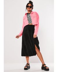 Missguided - Black Plisse A Line Midi Skirt - Lyst
