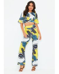 Missguided - Yellow Tropical Floral Print Trouser Co Ord Set - Lyst