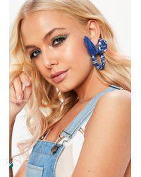 Missguided - Blue Bandanna Hoop Earrings - Lyst