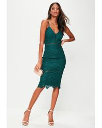 Missguided - Green Lace Ladder Detail Midi Dress - Lyst