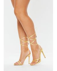 820565d992f3 Missguided - Chartreuse Satin Lace Up Barely There Heeled Sandals - Lyst